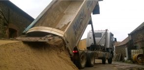 Tipping lime sand for one of our customers